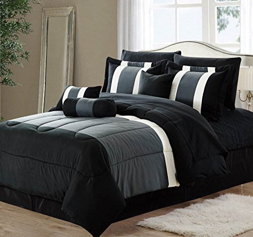 11 Piece Oversized Black Amp Gray Comforter Set Bedding With