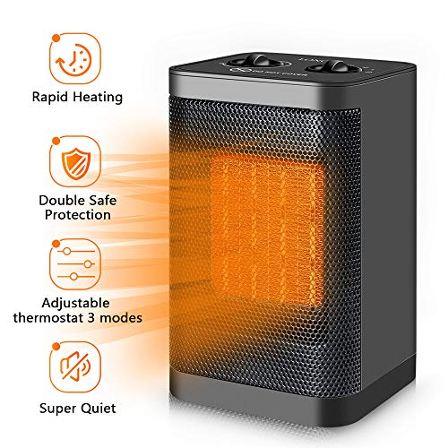 Space Heater Electric Ceramic Heater – 1500W/750W Portable ...